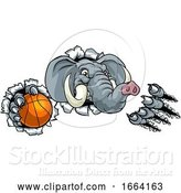 Vector Illustration of Elephant Basketball Ball Sports Animal Mascot by AtStockIllustration