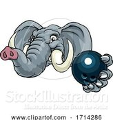 Vector Illustration of Elephant Bowling Ball Sports Animal Mascot by AtStockIllustration