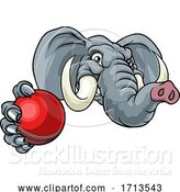 Vector Illustration of Elephant Cricket Ball Sports Animal Mascot by AtStockIllustration