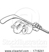 Vector Illustration of Elephant Ice Hockey Player Animal Sports Mascot by AtStockIllustration