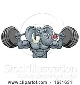 Vector Illustration of Elephant Mascot Weight Lifting Body Builder by AtStockIllustration