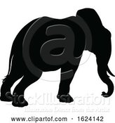 Vector Illustration of Elephant Safari Animal Silhouette by AtStockIllustration
