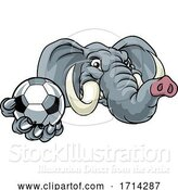 Vector Illustration of Elephant Soccer Football Ball Sports Mascot by AtStockIllustration