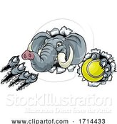 Vector Illustration of Elephant Tennis Ball Sports Animal Mascot by AtStockIllustration