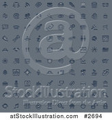 Vector Illustration of Embossed Blue Internet or Web Browser Icons by AtStockIllustration