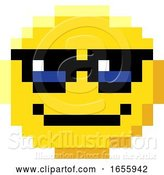 Vector Illustration of Emoticon Face Pixel Art 8 Bit Video Game Icon by AtStockIllustration