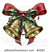 Vector Illustration of Engraved Christmas Bells with Holly and a Bow by AtStockIllustration