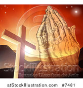 Vector Illustration of Engraved Praying Hands over a Christian Cross, Orange Sunset and Mountains by AtStockIllustration