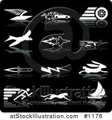 Vector Illustration of Envelope with Wings, Race Car with Flames, Race Car Tire, Bird, Jet, Super Man, Rocket, Lightning, Rabbit, Runner, Cheetah and Sailboat, over a Black Background by AtStockIllustration
