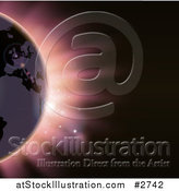Vector Illustration of Erope Featured on the Earth Against an Eclipse and Pink Light by AtStockIllustration