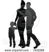 Vector Illustration of Family Detailed Silhouette by AtStockIllustration
