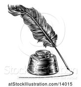 Vector Illustration of Feather Quill Pen Drawing a Line Around an Ink Well by AtStockIllustration
