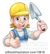 Vector Illustration of Female Mason Holding a Trowel and Giving a Thumb up by AtStockIllustration