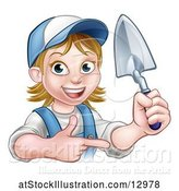 Vector Illustration of Female Mason Holding a Trowel and Pointing by AtStockIllustration