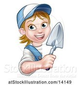 Vector Illustration of Female Mason Holding a Trowel Around a Sign by AtStockIllustration