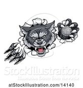 Vector Illustration of Ferocious Gray Wolf Slashing Through a Wall with a Golf Ball by AtStockIllustration