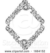 Vector Illustration of Filigree Heraldry Leaf Pattern Floral Border Frame by AtStockIllustration