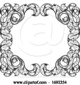 Vector Illustration of Filigree Leaves Frame Floral Border Scroll Pattern by AtStockIllustration