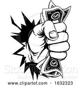 Vector Illustration of Fist Holding Cash Money Breaking Background by AtStockIllustration
