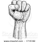 Vector Illustration of Fist in the Air Vintage Propaganda Poster Style by AtStockIllustration