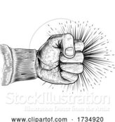 Vector Illustration of Fist Punching Vintage Propaganda Woodcut Style by AtStockIllustration