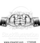 Vector Illustration of Fists Punching Business Vintage Style Concept by AtStockIllustration