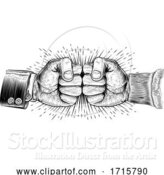 Vector Illustration of Fists Punching Vintage Woodcut Style Concept by AtStockIllustration