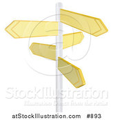 Vector Illustration of Five Blank Yellow Arrow Shaped Street Signs Pointing in Different Directions on a Pole by AtStockIllustration