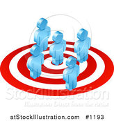 Vector Illustration of Five Blue Men Standing on a Red and White Target by AtStockIllustration