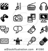 Vector Illustration of Flat Black and White Icons: Clapboard, Film Strip, Radio, Headphones, Controller, Camera, Pictures, Computer, Masks, Exclamation Point, Video Camera, Speaker, Equalizer, Robot, Microphone, Cell Phone by AtStockIllustration
