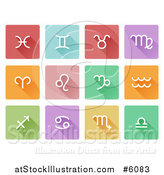 Vector Illustration of Flat Design White Astrology Horoscope Icons on Colorful Tiles by AtStockIllustration