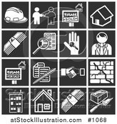 Vector Illustration of Flat White Home Construction Related Icons over Black Square Backgrounds by AtStockIllustration