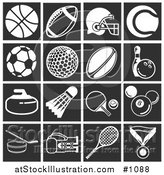 Vector Illustration of Flat White Sports Related Icons over Black Square Backgrounds by AtStockIllustration