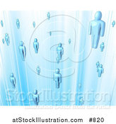 Vector Illustration of Floating Blue People in a Network by AtStockIllustration