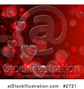 Vector Illustration of Floating Bubbles and 3d Hearts on Red by AtStockIllustration