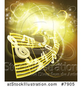 Vector Illustration of Floating Sheet Music and Notes over Gold and Yellow Neon Lights by AtStockIllustration