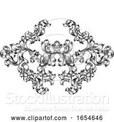 Vector Illustration of Floral Motif Scroll Pattern in Vintage Style by AtStockIllustration
