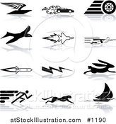 Vector Illustration of Flying Envelope, Race Car, Tire, Bird, Jet, Super Hero, Rocket, Lightning Bolt, Hare, Sprinter, Cheetah, and Sail Boat, over a White Background by AtStockIllustration