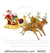 Vector Illustration of Flying Magic Reindeer and Santa in a Christmas Sleigh by AtStockIllustration