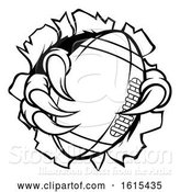 Vector Illustration of Football Ball Eagle Claw Talons Ripping Background by AtStockIllustration
