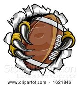 Vector Illustration of Football Ball Eagle Claw Talons Tearing Background by AtStockIllustration