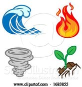 Vector Illustration of Four Elements Earth Water Air Fire Icon Set by AtStockIllustration