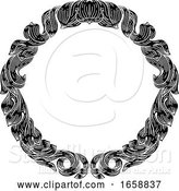 Vector Illustration of Frame Laurel Filigree Crest Floral Pattern Motif by AtStockIllustration