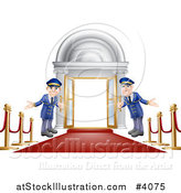 Vector Illustration of Friendly Door Men Holding Open VIP Doors on a Red Carpet by AtStockIllustration