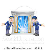 Vector Illustration of Friendly Door Men Holding Open VIP Doors to Lights by AtStockIllustration