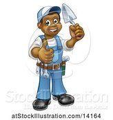 Vector Illustration of Full Length Black Male Mason Worker Holding a Trowel and Giving a Thumb up by AtStockIllustration