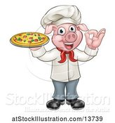 Vector Illustration of Full Length Chef Pig Gesturing Perfect and Holding a Pizza by AtStockIllustration