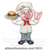Vector Illustration of Full Length Chef Pig Holding a Cheese Burger on a Tray and Gesturing Okay by AtStockIllustration