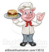 Vector Illustration of Full Length Chef Pig Holding a Cheeseburger on a Tray and Gesturing Okay by AtStockIllustration