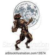 Vector Illustration of Full Length Werewolf Beast Howling and Transforming Against a Full Moon by AtStockIllustration